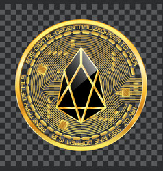 Crypto currency eos golden symbol vector