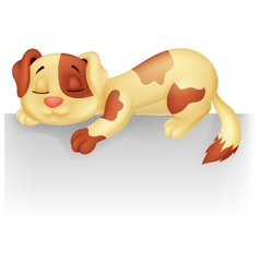 Cute dog cartoon sleeping on the white blank label vector image vector image