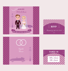 decorative wedding invitation cards set vector image