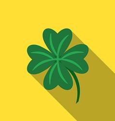 Flat design lucky clover icon with long shadow vector