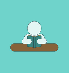 flat icon thin lines man reading book vector image