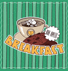 food poster with coffee breakfast vector image vector image