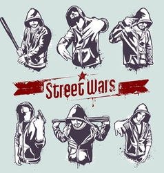gangster stencils vector image vector image