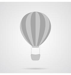 Gray hot air balloon flat icon vector