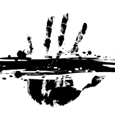 hand print with ink splatter vector image vector image