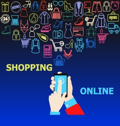 Hands mobile online shopping vector