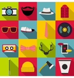 Hipster items icons set flat style vector