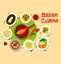 Italian cuisine lunch menu icon for food design vector