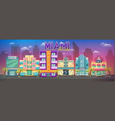 Old miami skyline panorama at sunset retro city vector