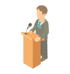 Orator speaking from tribune icon cartoon style vector image