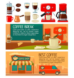set banners for coffee service in shop and cafe vector image