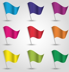 set nine triangle flags different colors vector image