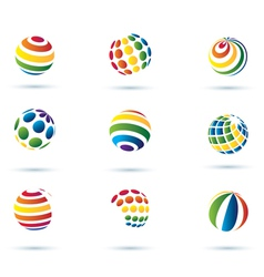 set of abstract globe icons vector image vector image