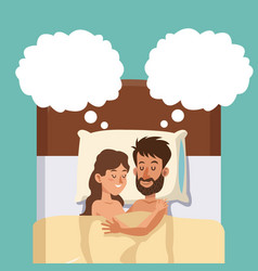 Sleeping couple in bed embracing dreaming vector