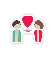Stylish paper sticker on white background lovers vector