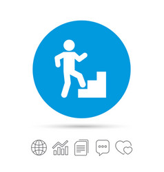 Upstairs icon human walking on ladder sign vector