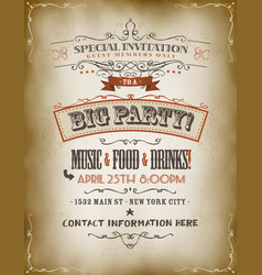 Vintage big party invitation poster vector
