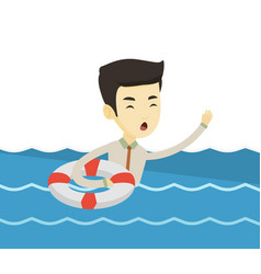 business man sinking and asking for help vector image