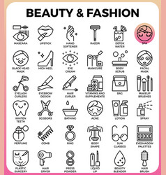 Beauty and fashion icon set vector