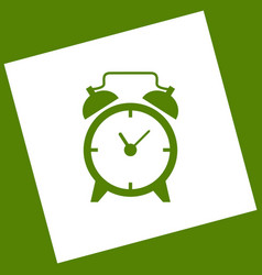 Alarm clock sign  white icon obtained as a vector