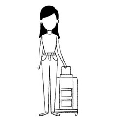 beautiful girl with suitcase vector image