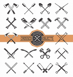 Crossed retro objects vector