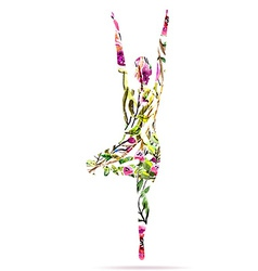 Yoga pose watercolor bright floral vector