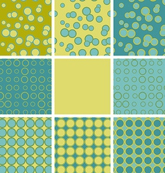 Abstract set of seamless pattern with blue green vector