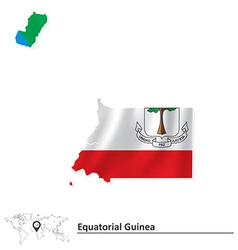Map of equatorial guinea with flag vector