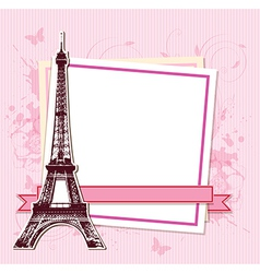 White frame with Paris and the Eiffel Tower vector image