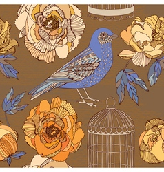 Bird and blooming roses vector