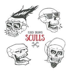 Hand drawn funky style sculls set jolly roger vector