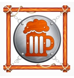 Wooden frame for beer pub vector