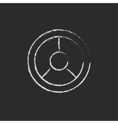 Steering wheel icon drawn in chalk vector