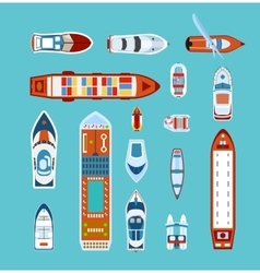 Ships top view flat icons set vector