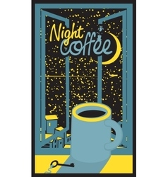 Night coffee cup vector
