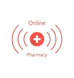 Red online pharmacy logotype with wave vector