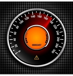 Automobile analog speedometer with a red arrow vector