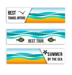 Summer sea banners collection of summer inspired vector