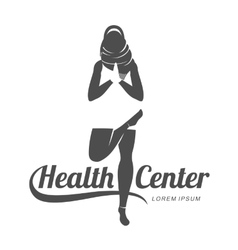 Aerobic logo with muslim woman vector