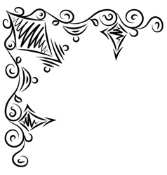 Doodle abstract handdrawn frame corner vector