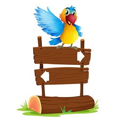 A colorful bird and the signboard vector image