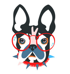Abstract papercut collage dog head vector