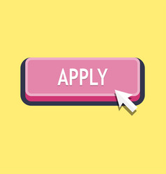 Apply button with cursor in flat design vector