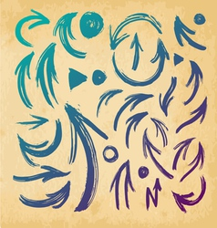 Arrows on a paper background brush stroke vector