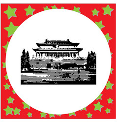 black 8-bit the forbidden city of china vector image vector image