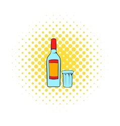 Bottle of vodka and glass icon comics style vector