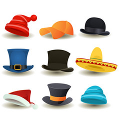 caps top hats and other head wear set vector image