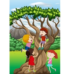 Children climbing tree in the park vector image vector image