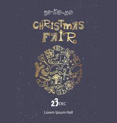Christmas fair poster template vector